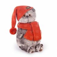 Мягкая игрушка Басик в вязаной  шапке и шарфе Усть Каменогорск, Актау, Кокшетау, Семей, Тараз купить в магазине игрушек LEMUR.KZ