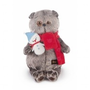 Мягкая игрушка Кот Басик в шарфике со снеговичком Алматы, Астана, Шымкент, Караганда купить в магазине игрушек LEMUR.KZ